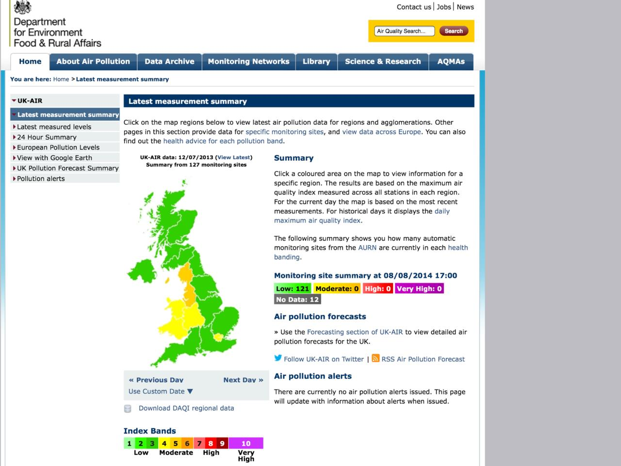 Exhibit 13 Defra air pollution summary 120713 archived_Retrieved 080814