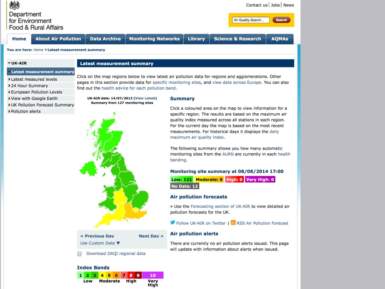 Exhibit 15 Defra air pollution summary 140713 archived_Retrieved 080814