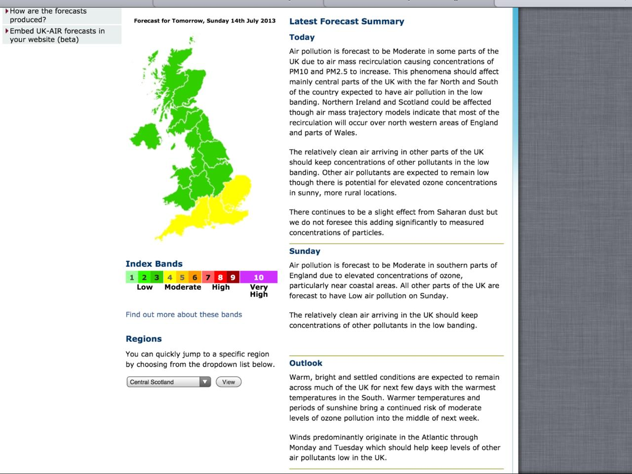 Exhibit 5 Defra forecast on Saturday 130713 for that day and Sunday 140713