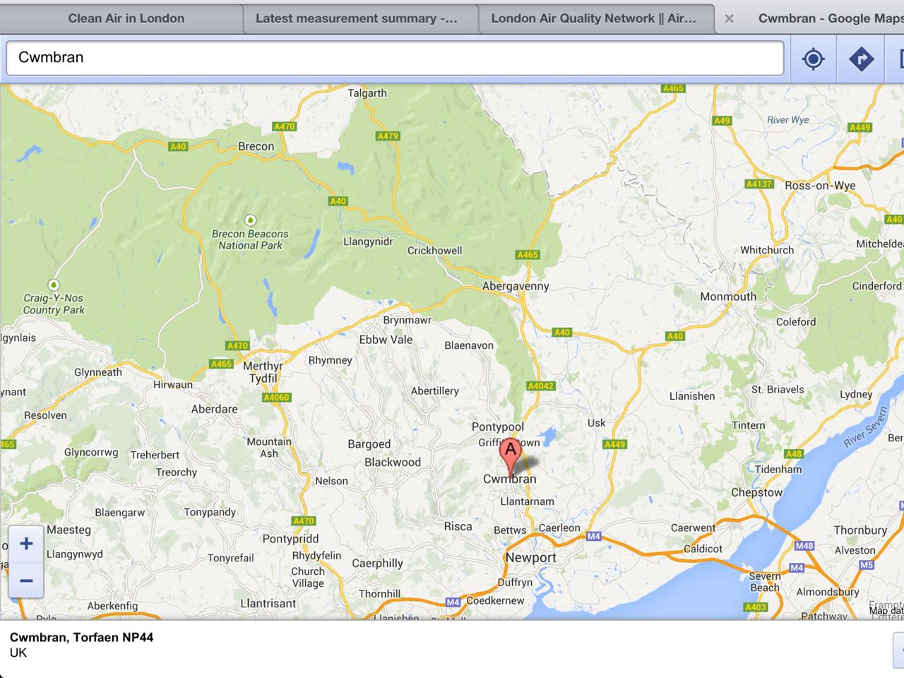 Exhibit 7 Google map showing Cwmbran