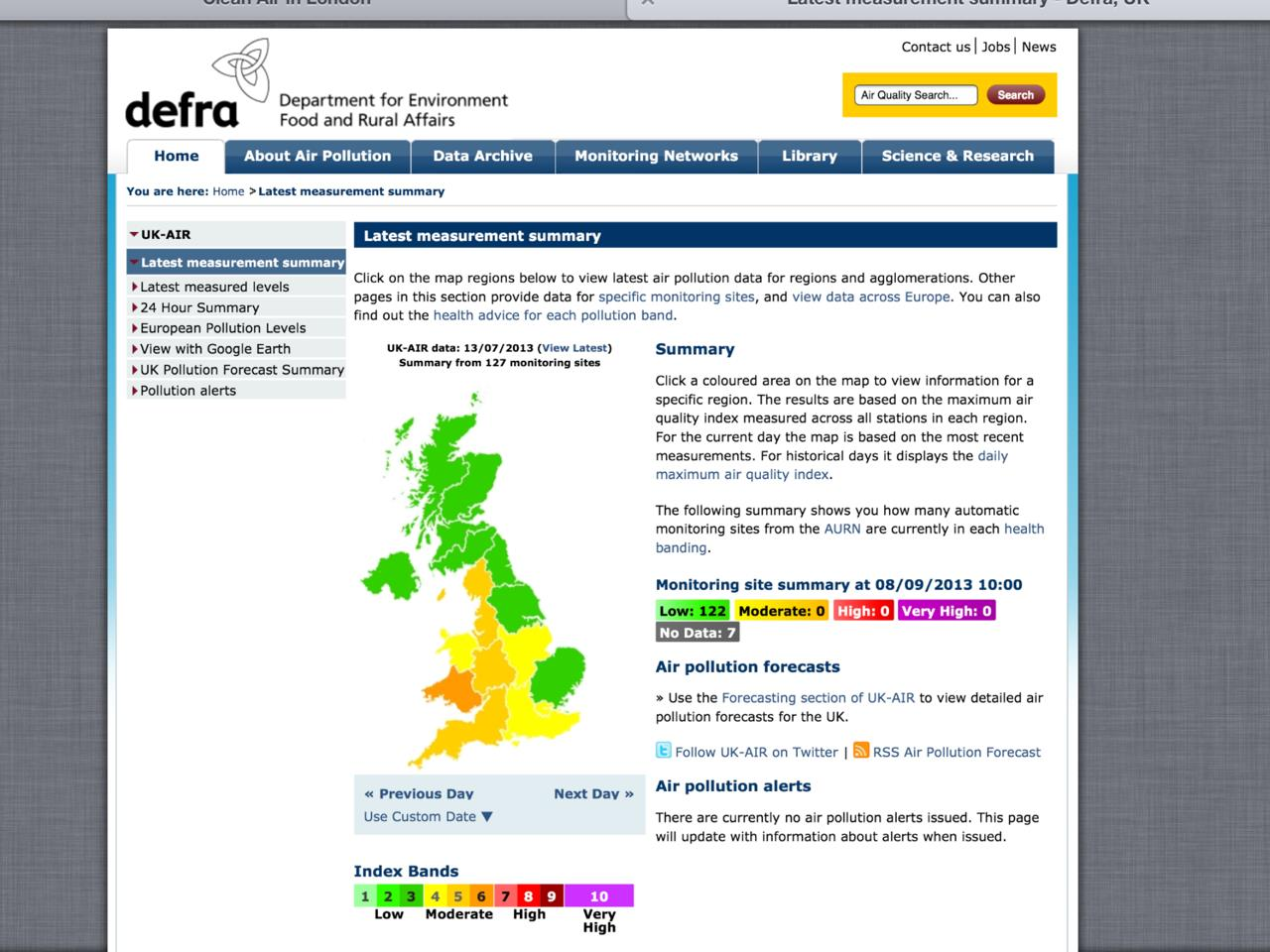 Exhibit 8 Defra air pollution summary 130713 archived_Retrieved 080913
