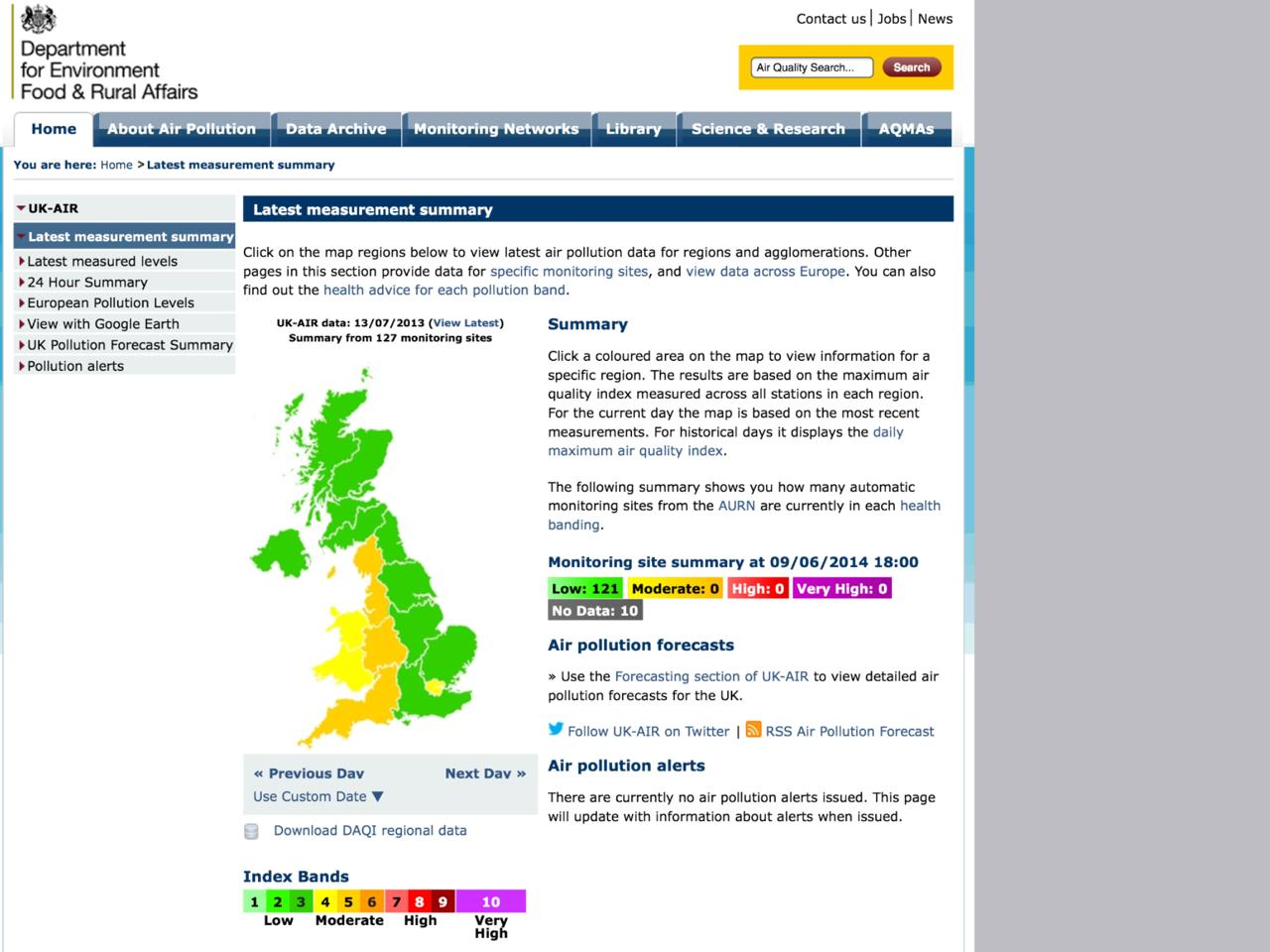 Exhibit 9 Defra air pollution summary 130713 archived_Retrieved 090614
